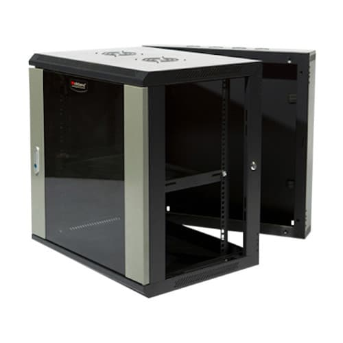 Wideband 12RU 600mm Wide x 550mm Deep Swing Gate Fully Assembled Wall Mounted Server Rack Data Cabinet